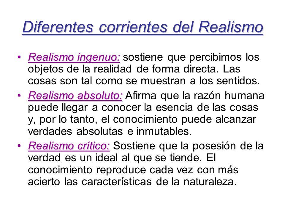 Diferentes corrientes del Realismo Realismo ingenuo:Realismo ingenuo: sostiene que percibimos los objetos de la realidad de forma directa. Las cosas s
