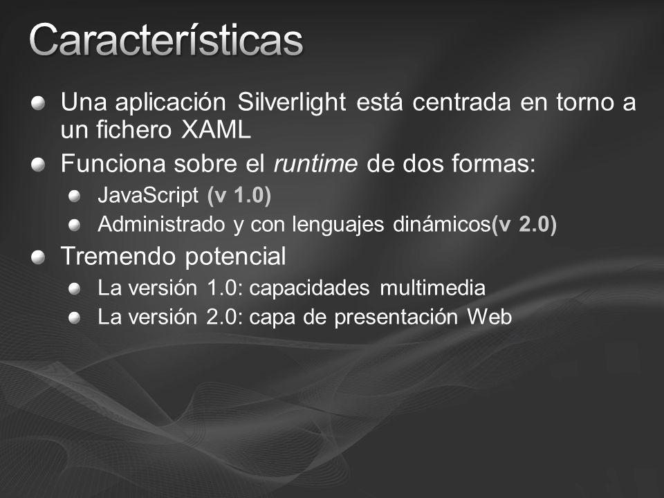 Una aplicación Silverlight está centrada en torno a un fichero XAML Funciona sobre el runtime de dos formas: JavaScript (v 1.0) Administrado y con lenguajes dinámicos(v 2.0) Tremendo potencial La versión 1.0: capacidades multimedia La versión 2.0: capa de presentación Web