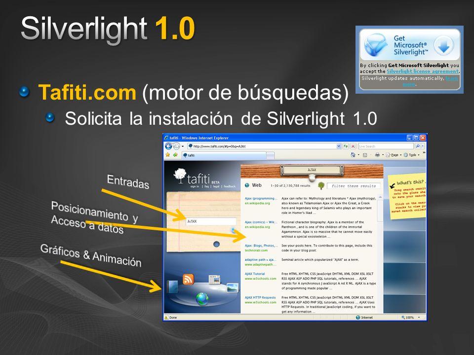 Tafiti.com (motor de búsquedas) Solicita la instalación de Silverlight 1.0
