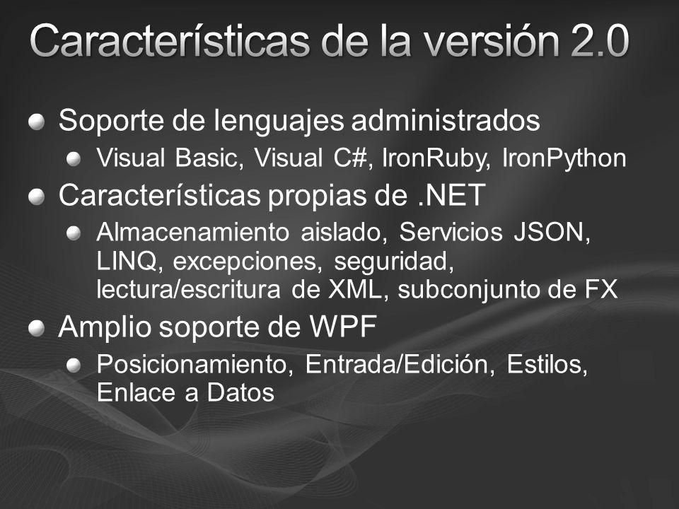 Soporte de lenguajes administrados Visual Basic, Visual C#, IronRuby, IronPython Características propias de.NET Almacenamiento aislado, Servicios JSON, LINQ, excepciones, seguridad, lectura/escritura de XML, subconjunto de FX Amplio soporte de WPF Posicionamiento, Entrada/Edición, Estilos, Enlace a Datos