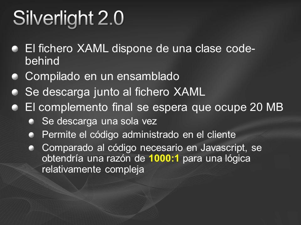 El fichero XAML dispone de una clase code- behind Compilado en un ensamblado Se descarga junto al fichero XAML El complemento final se espera que ocupe 20 MB Se descarga una sola vez Permite el código administrado en el cliente Comparado al código necesario en Javascript, se obtendría una razón de 1000:1 para una lógica relativamente compleja