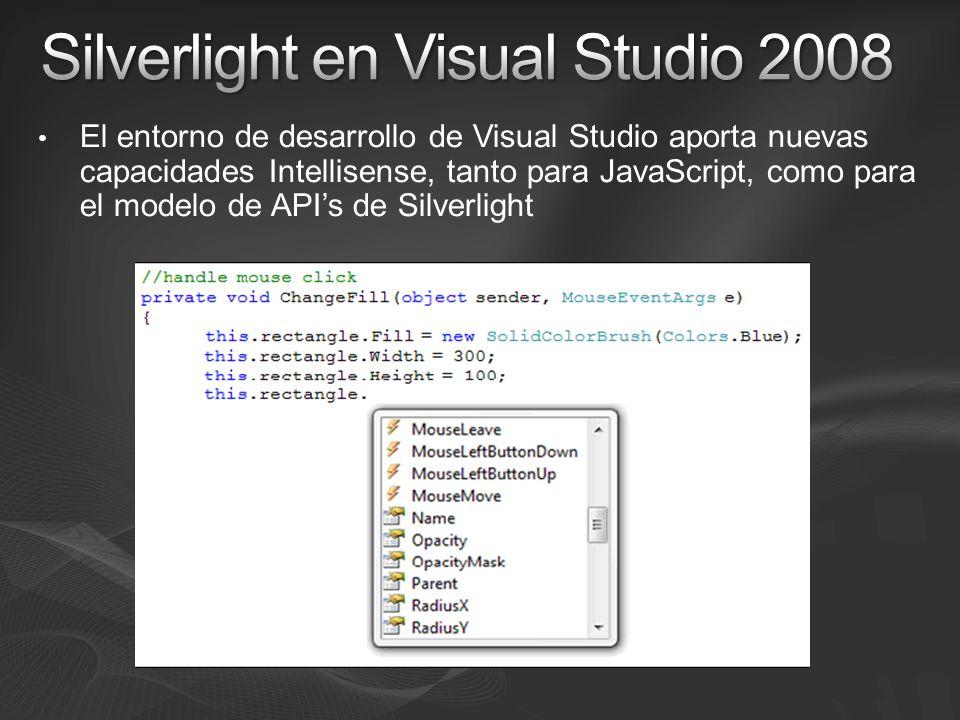 El entorno de desarrollo de Visual Studio aporta nuevas capacidades Intellisense, tanto para JavaScript, como para el modelo de APIs de Silverlight