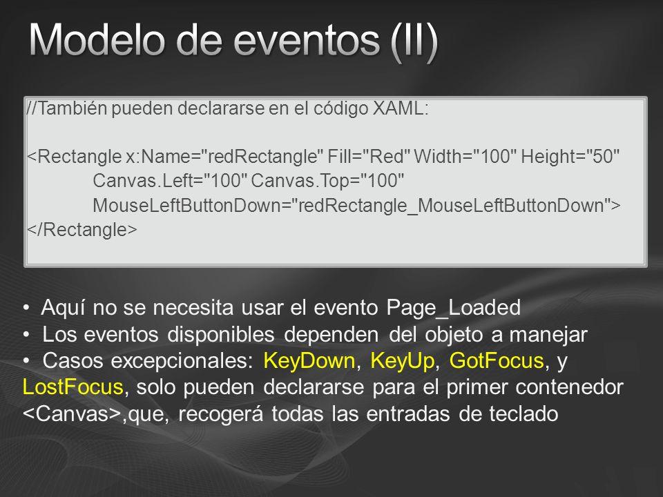 //También pueden declararse en el código XAML: <Rectangle x:Name= redRectangle Fill= Red Width= 100 Height= 50 Canvas.Left= 100 Canvas.Top= 100 MouseLeftButtonDown= redRectangle_MouseLeftButtonDown > Aquí no se necesita usar el evento Page_Loaded Los eventos disponibles dependen del objeto a manejar Casos excepcionales: KeyDown, KeyUp, GotFocus, y LostFocus, solo pueden declararse para el primer contenedor,que, recogerá todas las entradas de teclado