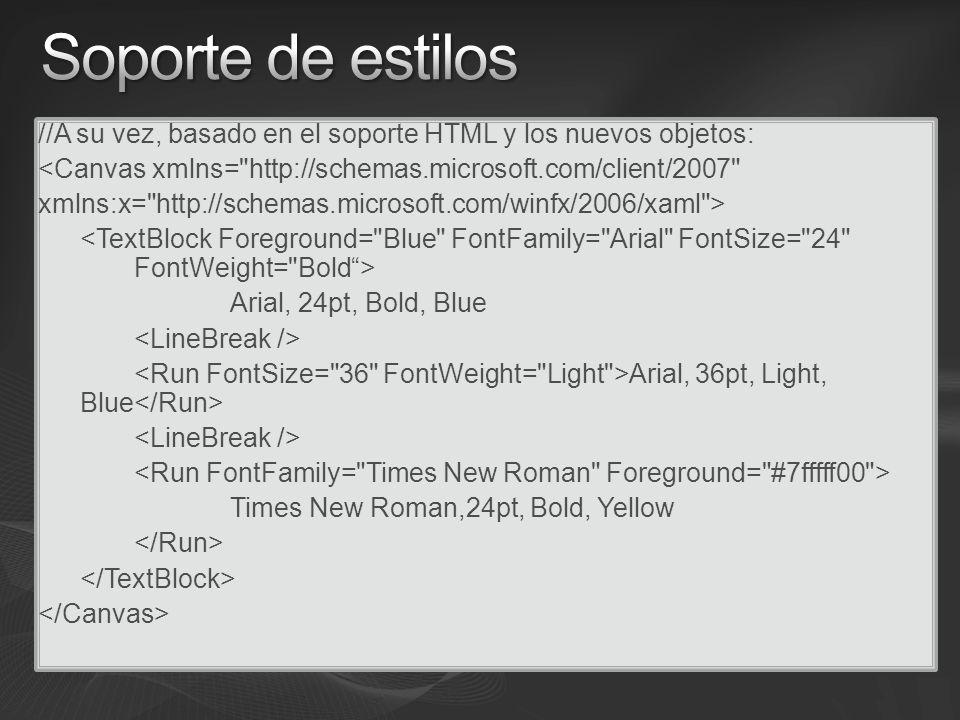 //A su vez, basado en el soporte HTML y los nuevos objetos: <Canvas xmlns= http://schemas.microsoft.com/client/2007 xmlns:x= http://schemas.microsoft.com/winfx/2006/xaml > Arial, 24pt, Bold, Blue Arial, 36pt, Light, Blue Times New Roman,24pt, Bold, Yellow