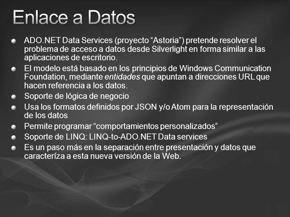 ADO.NET Data Services (proyecto Astoria) pretende resolver el problema de acceso a datos desde Silverlight en forma similar a las aplicaciones de escr