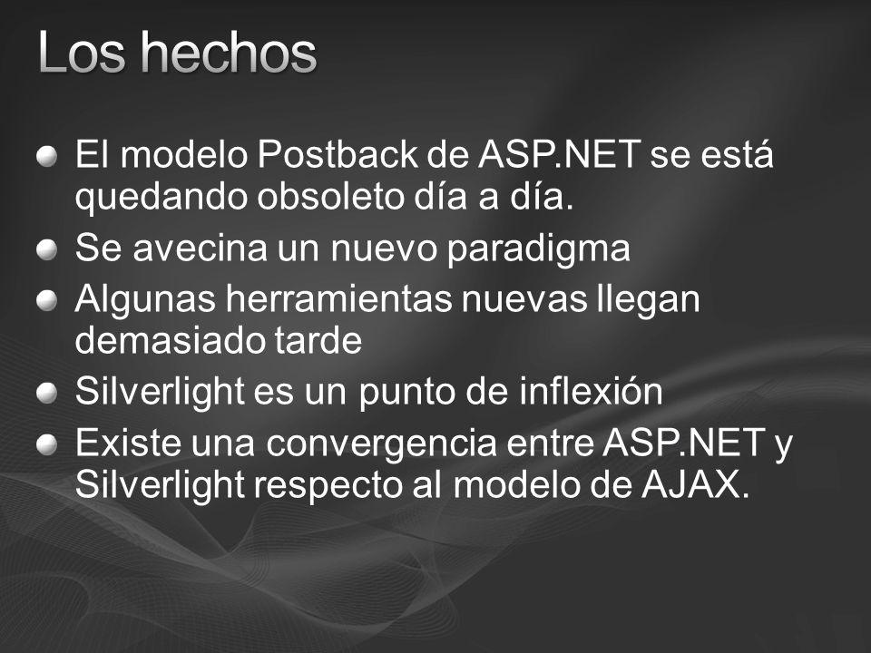 El modelo Postback de ASP.NET se está quedando obsoleto día a día. Se avecina un nuevo paradigma Algunas herramientas nuevas llegan demasiado tarde Si