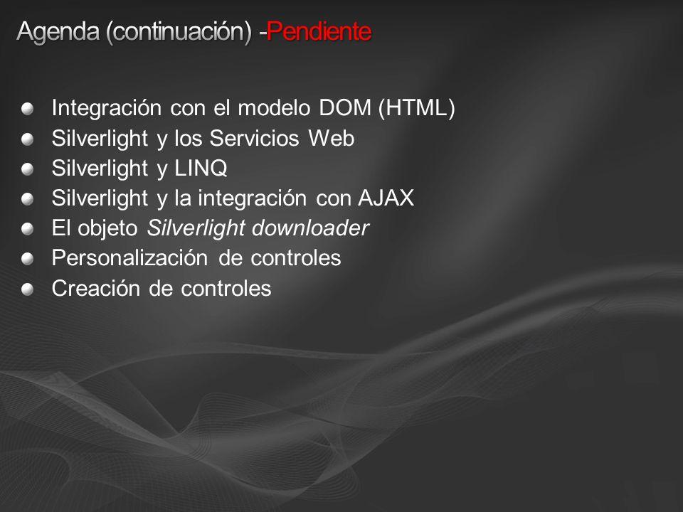 Integración con el modelo DOM (HTML) Silverlight y los Servicios Web Silverlight y LINQ Silverlight y la integración con AJAX El objeto Silverlight downloader Personalización de controles Creación de controles