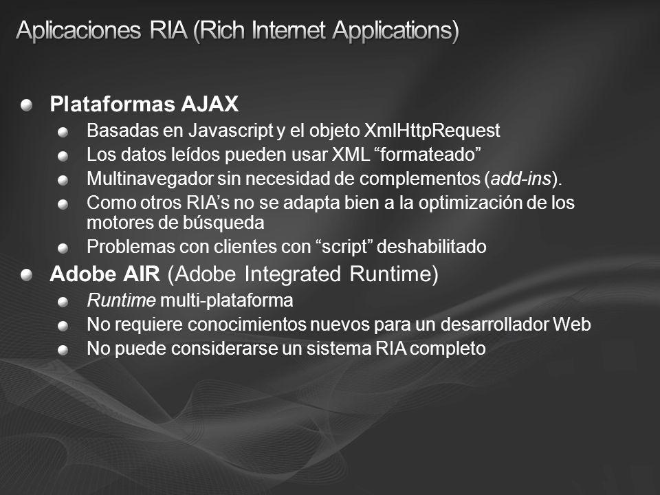 Plataformas AJAX Basadas en Javascript y el objeto XmlHttpRequest Los datos leídos pueden usar XML formateado Multinavegador sin necesidad de compleme