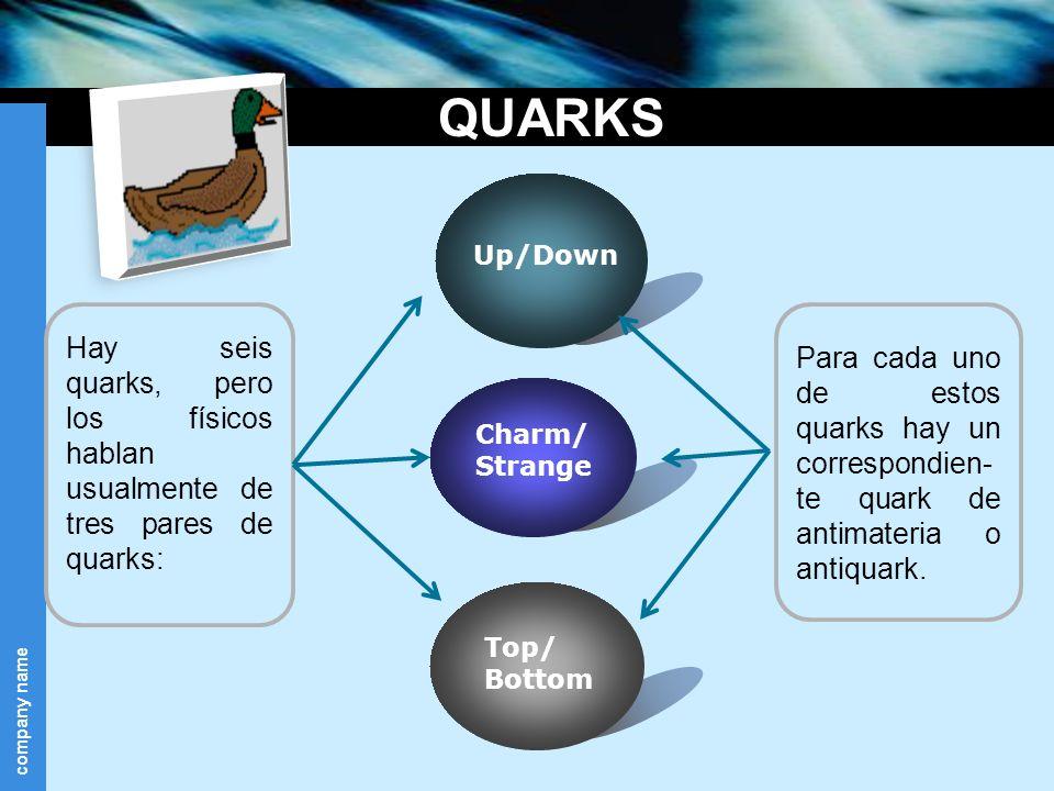 company name QUARKS Hay seis quarks, pero los físicos hablan usualmente de tres pares de quarks: Up/Down Top/ Bottom Charm/ Strange Para cada uno de e