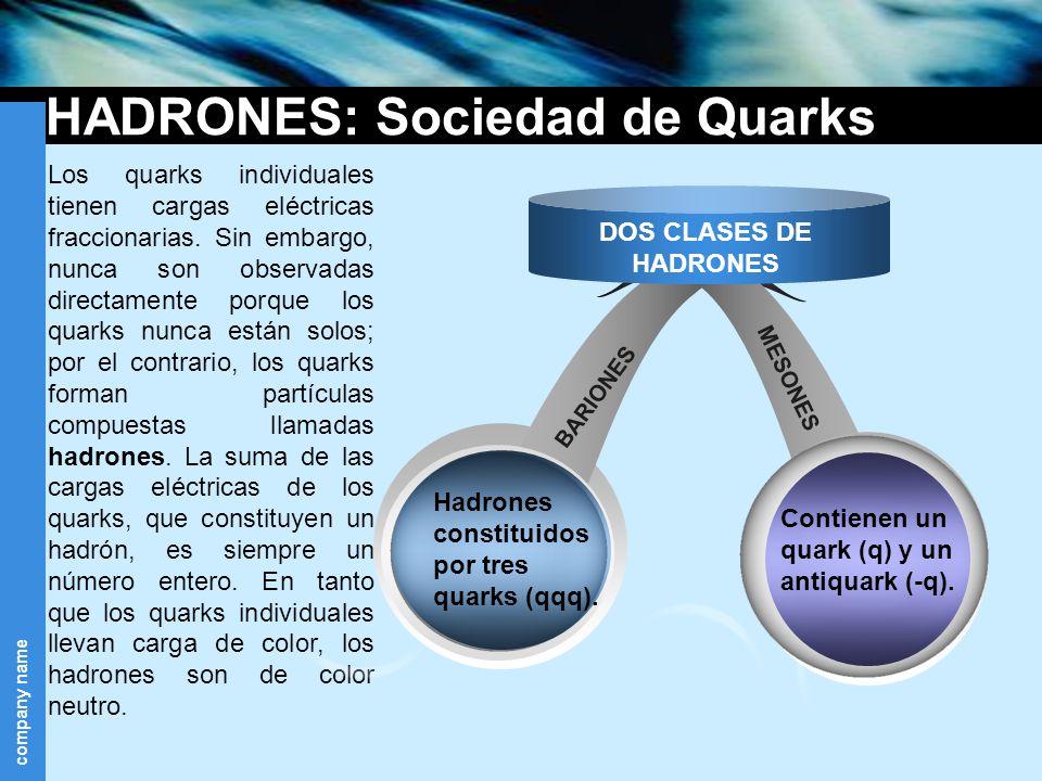 company name HADRONES: Sociedad de Quarks Los quarks individuales tienen cargas eléctricas fraccionarias. Sin embargo, nunca son observadas directamen