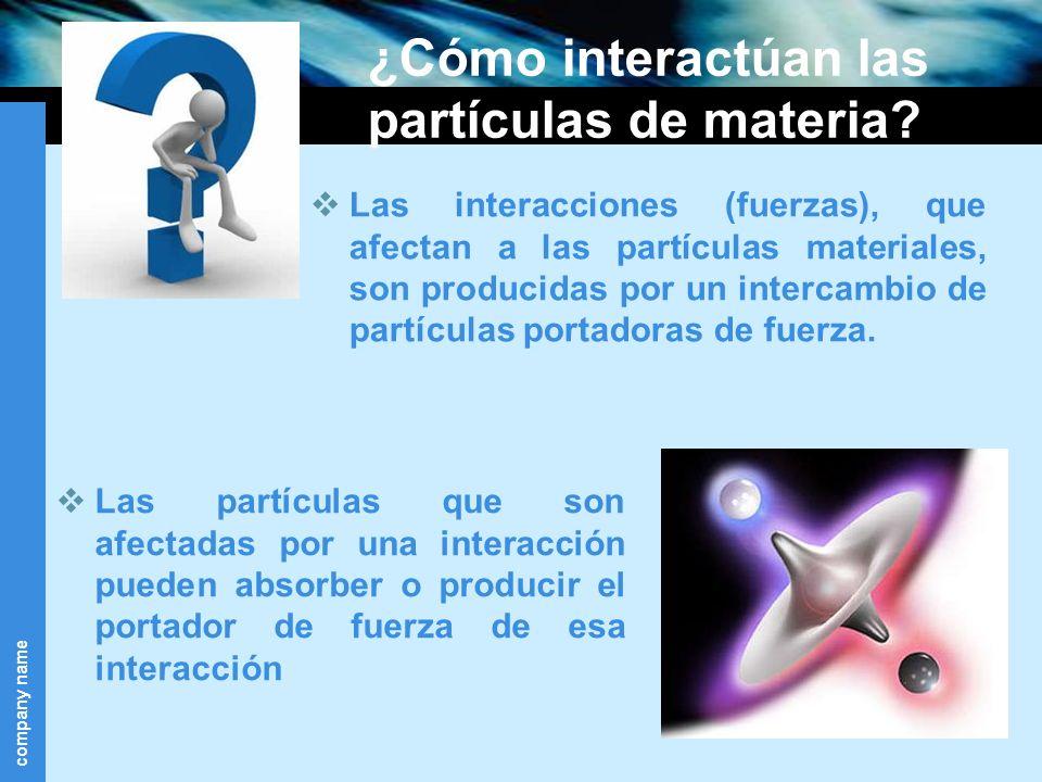 company name ¿Cómo interactúan las partículas de materia? Las partículas que son afectadas por una interacción pueden absorber o producir el portador