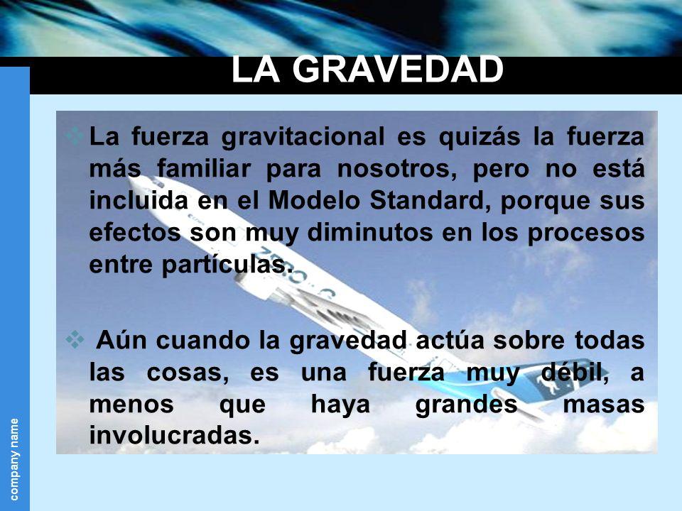 company name LA GRAVEDAD La fuerza gravitacional es quizás la fuerza más familiar para nosotros, pero no está incluida en el Modelo Standard, porque s