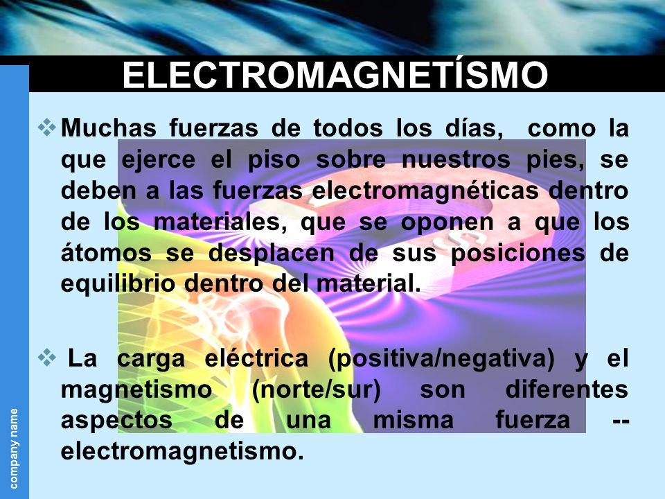 company name ELECTROMAGNETÍSMO Muchas fuerzas de todos los días, como la que ejerce el piso sobre nuestros pies, se deben a las fuerzas electromagnéti