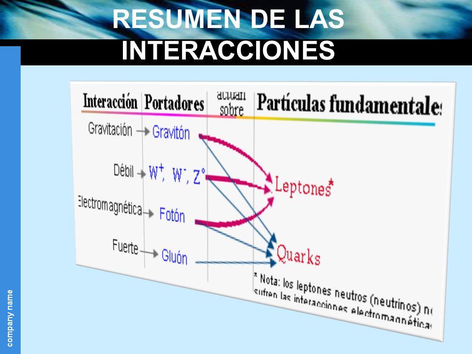 company name RESUMEN DE LAS INTERACCIONES