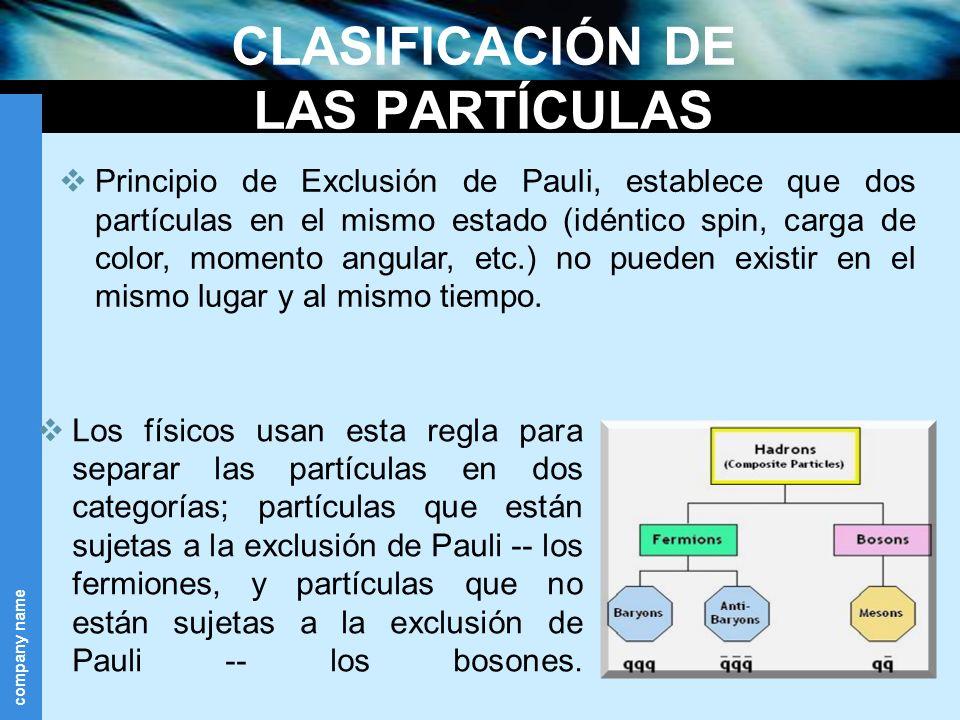 company name CLASIFICACIÓN DE LAS PARTÍCULAS Los físicos usan esta regla para separar las partículas en dos categorías; partículas que están sujetas a