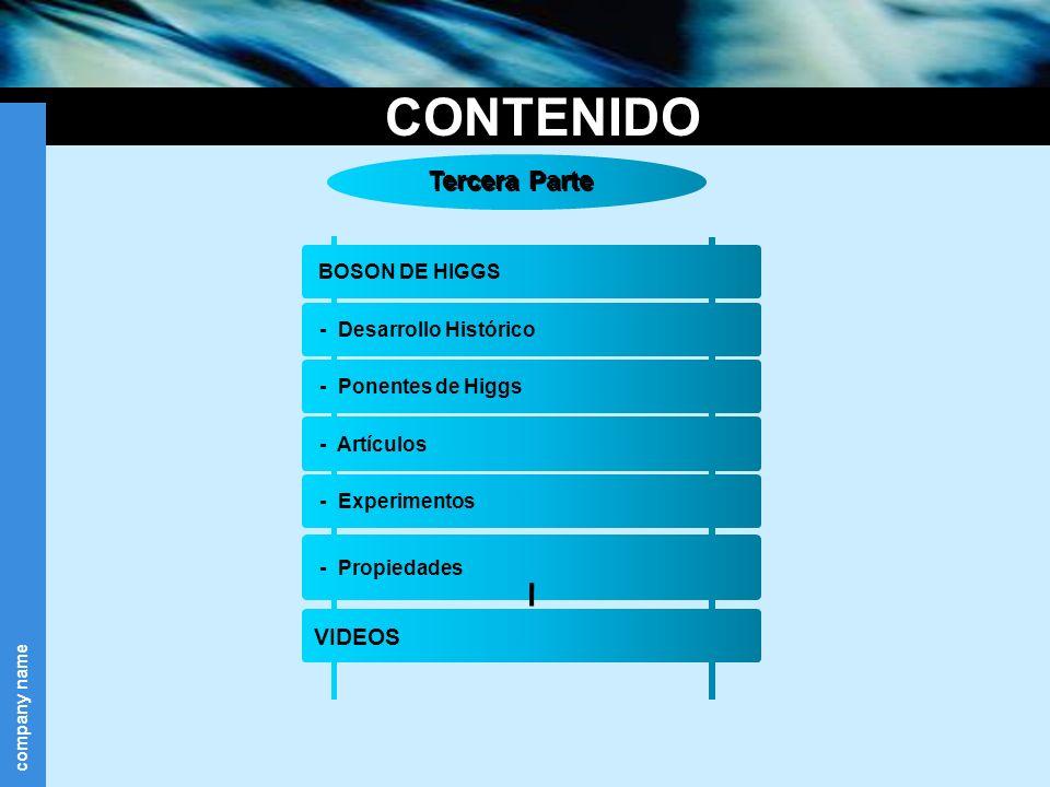company name CONTENIDO Tercera Parte BOSON DE HIGGS - Propiedades VIDEOS - Desarrollo Histórico - Ponentes de Higgs - Artículos - Experimentos