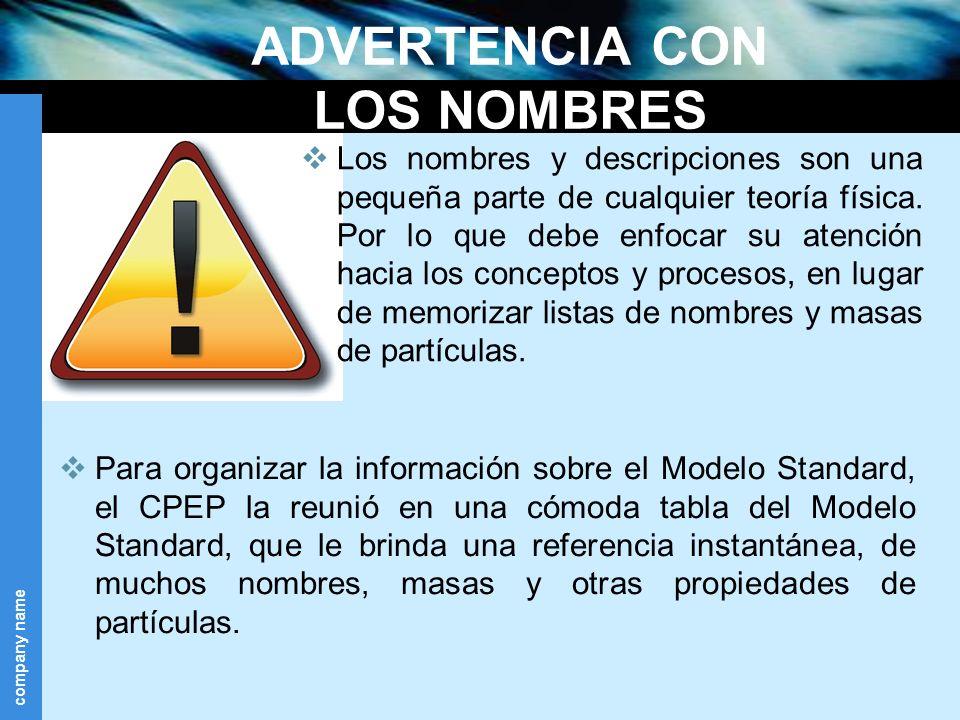 company name ADVERTENCIA CON LOS NOMBRES Para organizar la información sobre el Modelo Standard, el CPEP la reunió en una cómoda tabla del Modelo Stan
