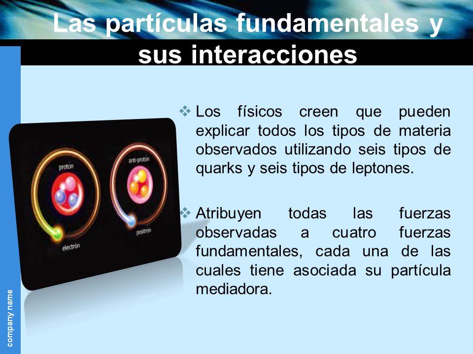 Las partículas fundamentales y sus interacciones Los físicos creen que pueden explicar todos los tipos de materia observados utilizando seis tipos de