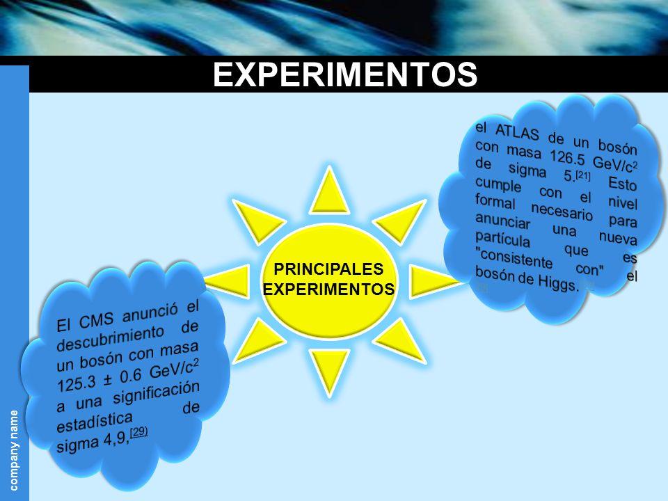 company name EXPERIMENTOS PRINCIPALES EXPERIMENTOS