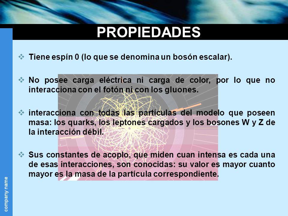 company name PROPIEDADES Tiene espín 0 (lo que se denomina un bosón escalar). No posee carga eléctrica ni carga de color, por lo que no interacciona c