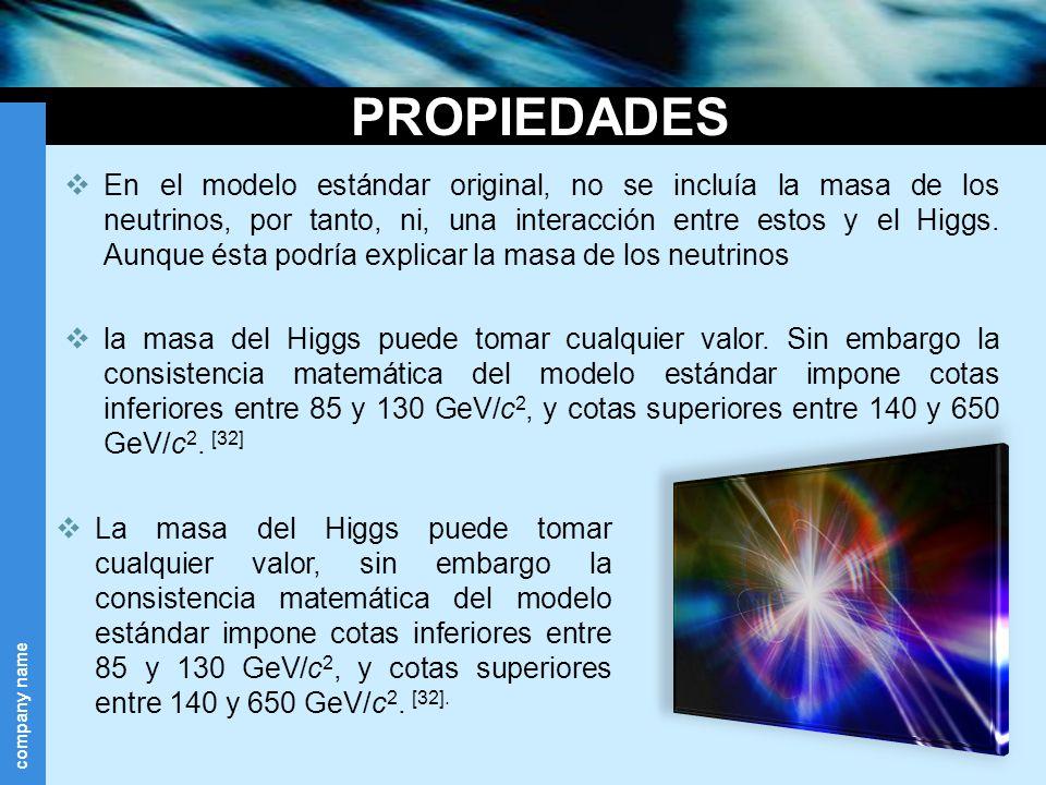 company name PROPIEDADES En el modelo estándar original, no se incluía la masa de los neutrinos, por tanto, ni, una interacción entre estos y el Higgs