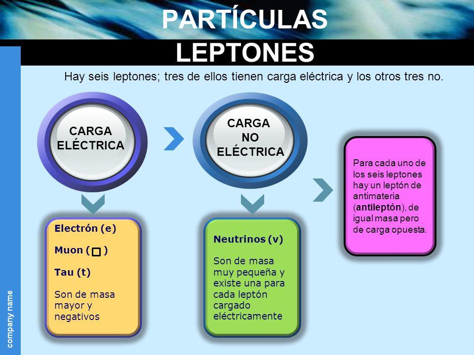 company name PARTÍCULAS Neutrinos (v) Son de masa muy pequeña y existe una para cada leptón cargado eléctricamente Electrón (e) Muon ( ) Tau (t) Son d