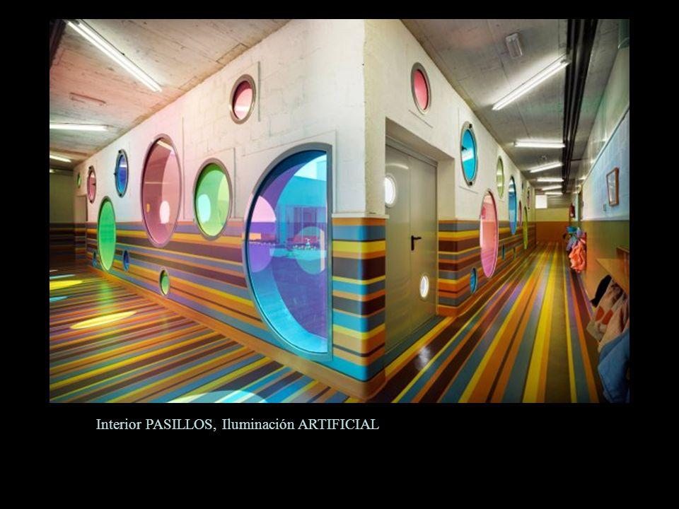 Interior PASILLOS, Iluminación ARTIFICIAL