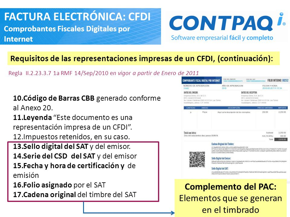 10.Código de Barras CBB generado conforme al Anexo 20. 11.Leyenda Este documento es una representación impresa de un CFDI. 12.Impuestos retenidos, en