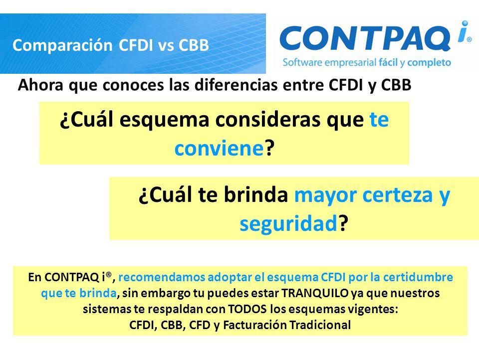 Comparación CFDI vs CBB En CONTPAQ i®, recomendamos adoptar el esquema CFDI por la certidumbre que te brinda, sin embargo tu puedes estar TRANQUILO ya que nuestros sistemas te respaldan con TODOS los esquemas vigentes: CFDI, CBB, CFD y Facturación Tradicional Ahora que conoces las diferencias entre CFDI y CBB ¿Cuál esquema consideras que te conviene.