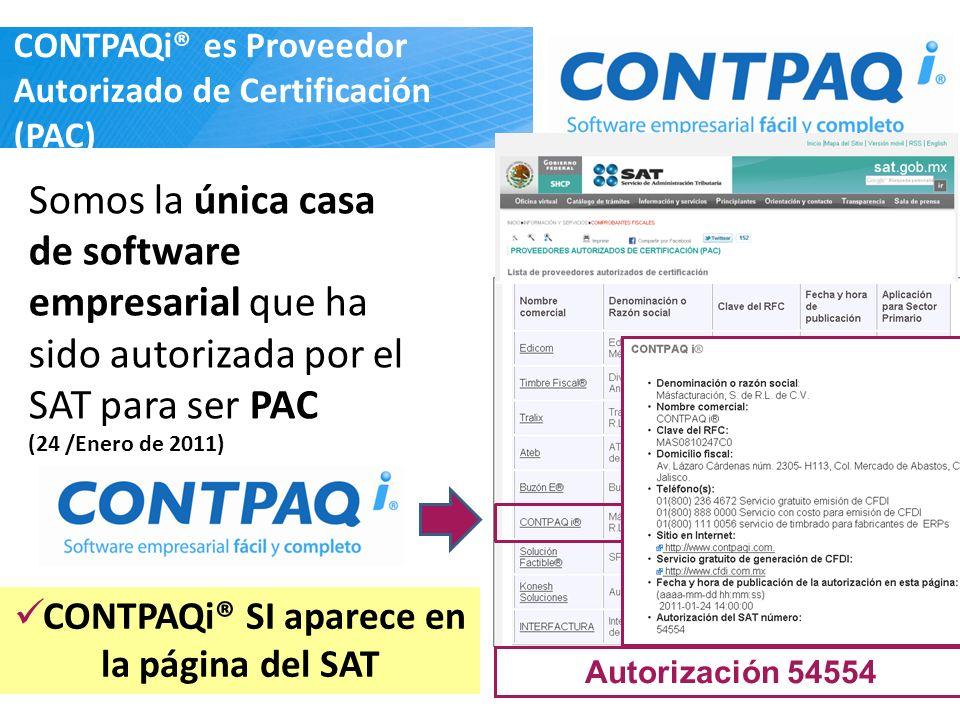 CONTPAQi® es Proveedor Autorizado de Certificación (PAC) Somos la única casa de software empresarial que ha sido autorizada por el SAT para ser PAC (2