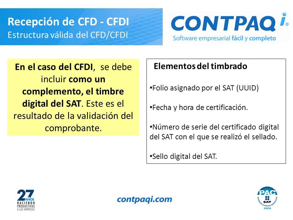 Elementos del timbrado Folio asignado por el SAT (UUID) Fecha y hora de certificación. Número de serie del certificado digital del SAT con el que se r