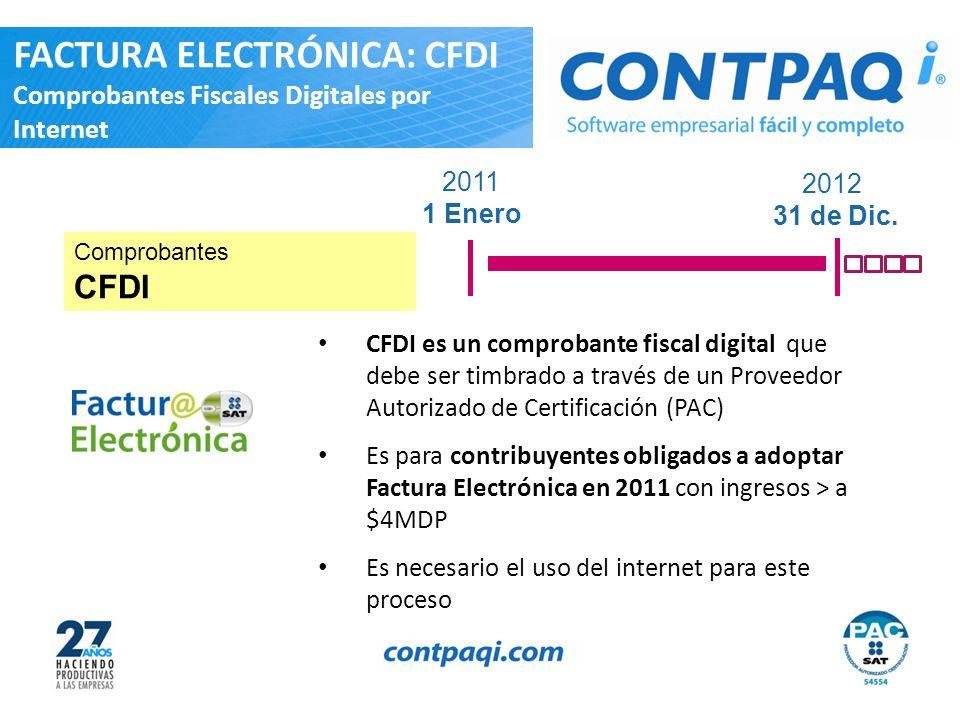 2011 1 Enero 2012 31 de Dic. CFDI es un comprobante fiscal digital que debe ser timbrado a través de un Proveedor Autorizado de Certificación (PAC) Es