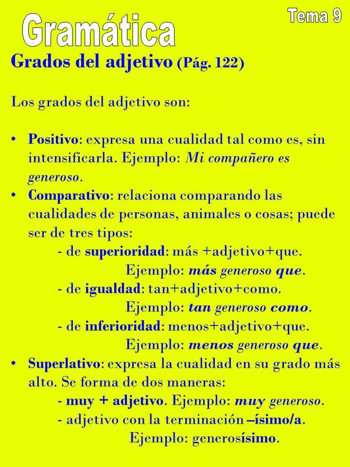 Grados del adjetivo (Pág. 122) Los grados del adjetivo son: Positivo: expresa una cualidad tal como es, sin intensificarla. Ejemplo: Mi compañero es g