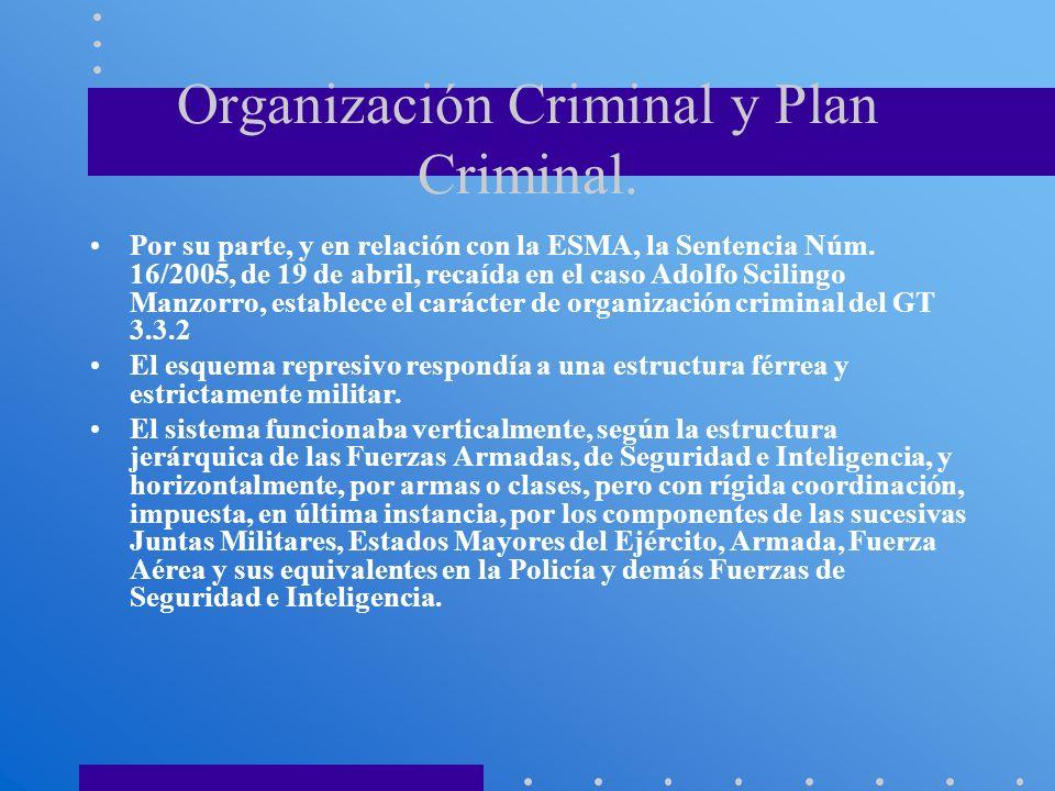 Organización Criminal y Plan Criminal. Por su parte, y en relación con la ESMA, la Sentencia Núm. 16/2005, de 19 de abril, recaída en el caso Adolfo S