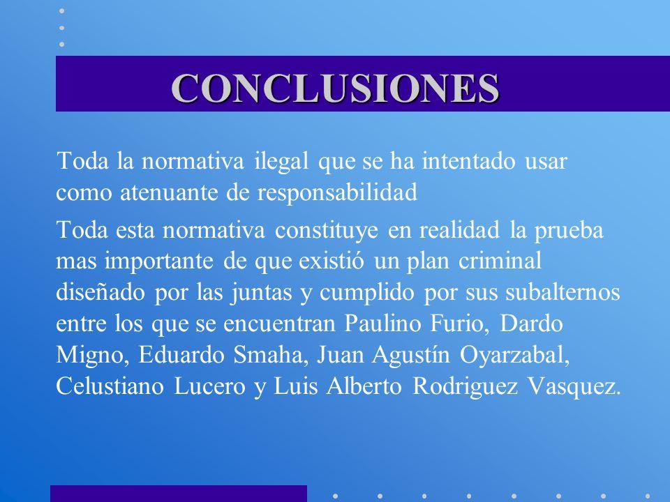 CONCLUSIONES Toda la normativa ilegal que se ha intentado usar como atenuante de responsabilidad Toda esta normativa constituye en realidad la prueba