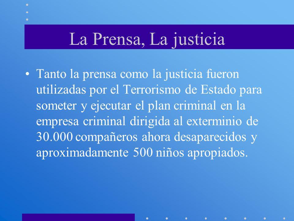 La Prensa, La justicia Tanto la prensa como la justicia fueron utilizadas por el Terrorismo de Estado para someter y ejecutar el plan criminal en la e
