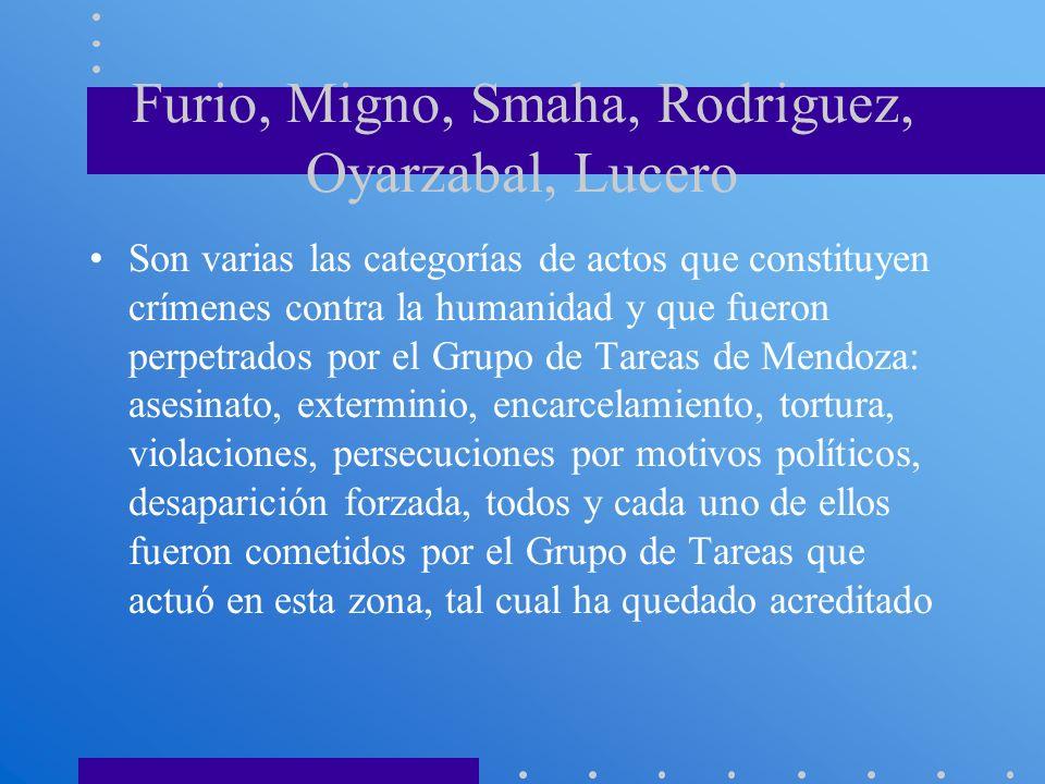 Furio, Migno, Smaha, Rodriguez, Oyarzabal, Lucero Son varias las categorías de actos que constituyen crímenes contra la humanidad y que fueron perpetr