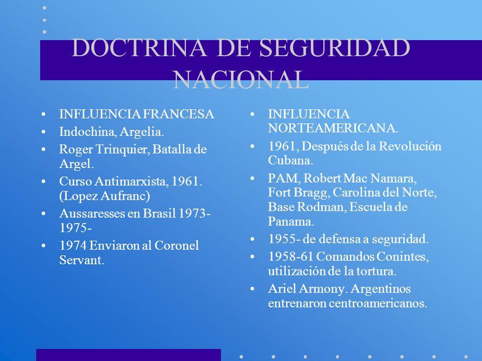 DOCTRINA DE SEGURIDAD NACIONAL INFLUENCIA FRANCESA Indochina, Argelia. Roger Trinquier, Batalla de Argel. Curso Antimarxista, 1961. (Lopez Aufranc) Au