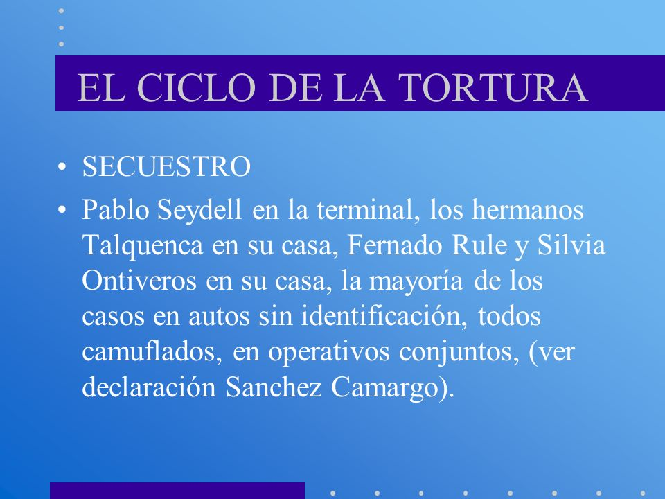 EL CICLO DE LA TORTURA SECUESTRO Pablo Seydell en la terminal, los hermanos Talquenca en su casa, Fernado Rule y Silvia Ontiveros en su casa, la mayor