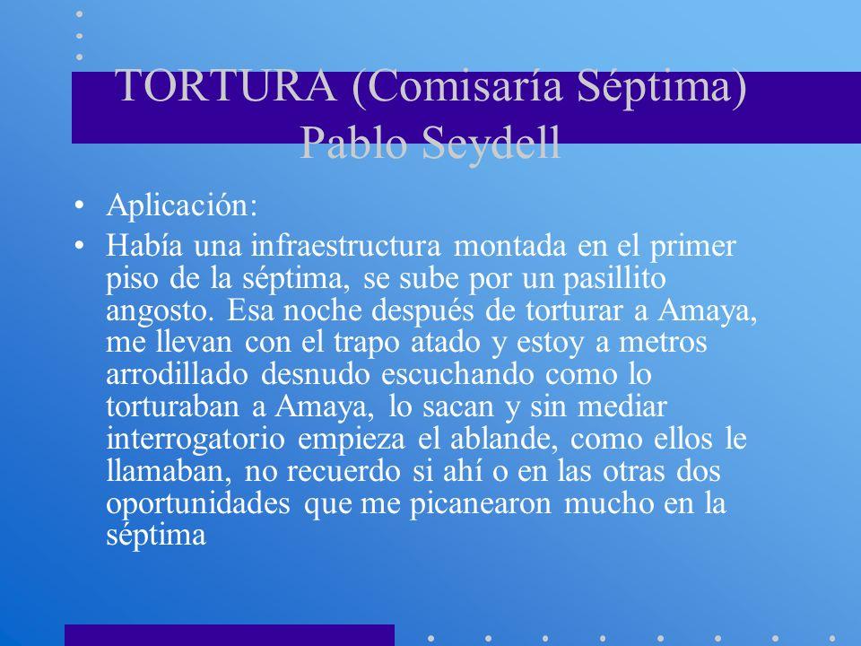 TORTURA (Comisaría Séptima) Pablo Seydell Aplicación: Había una infraestructura montada en el primer piso de la séptima, se sube por un pasillito ango