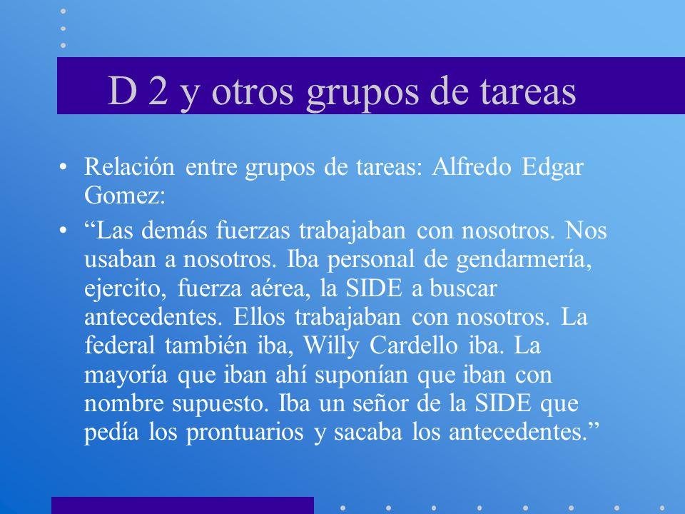 D 2 y otros grupos de tareas Relación entre grupos de tareas: Alfredo Edgar Gomez: Las demás fuerzas trabajaban con nosotros. Nos usaban a nosotros. I