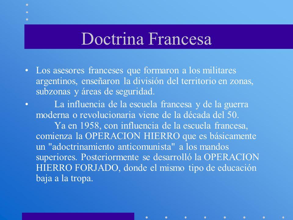 Doctrina Francesa Los asesores franceses que formaron a los militares argentinos, enseñaron la división del territorio en zonas, subzonas y áreas de s