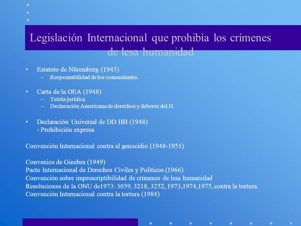 Legislación Internacional que prohibía los crímenes de lesa humanidad Estatuto de Nüremberg (1945) –Responsabilidad de los comandantes. Carta de la OE