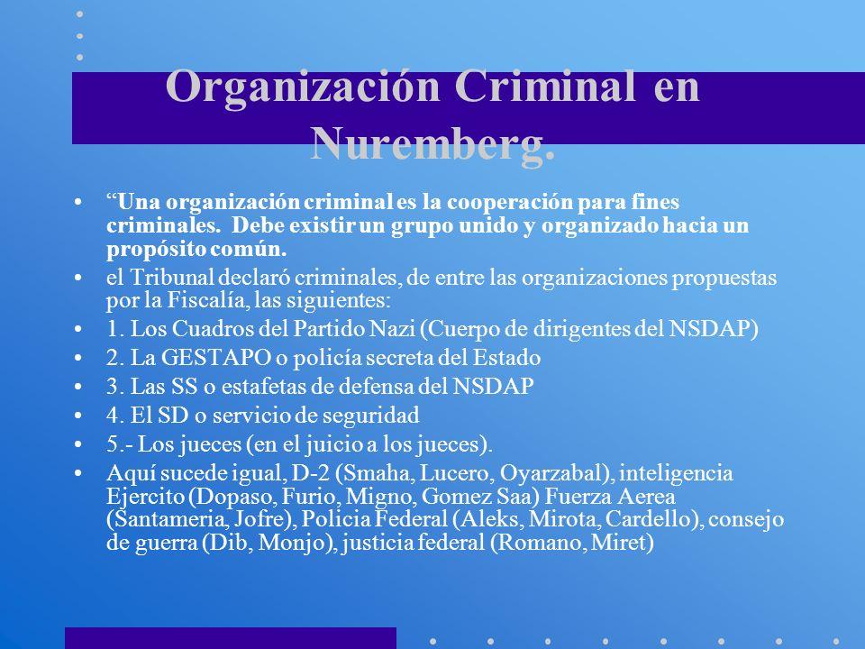 Organización Criminal en Nuremberg. Una organización criminal es la cooperación para fines criminales. Debe existir un grupo unido y organizado hacia
