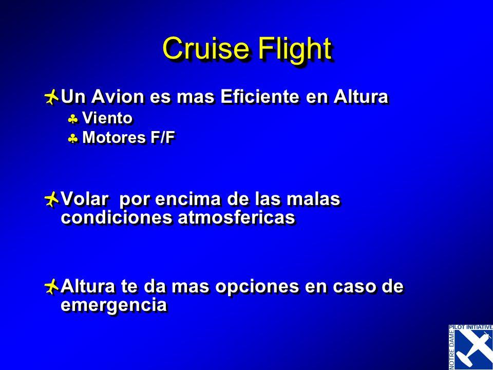 Cruise Flight Un Avion es mas Eficiente en Altura Viento Motores F/F Volar por encima de las malas condiciones atmosfericas Altura te da mas opciones