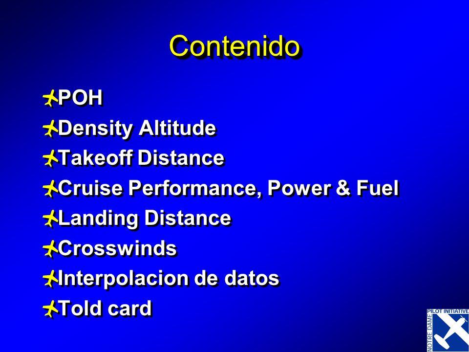 ContenidoContenido POH Density Altitude Takeoff Distance Cruise Performance, Power & Fuel Landing Distance Crosswinds Interpolacion de datos Told card