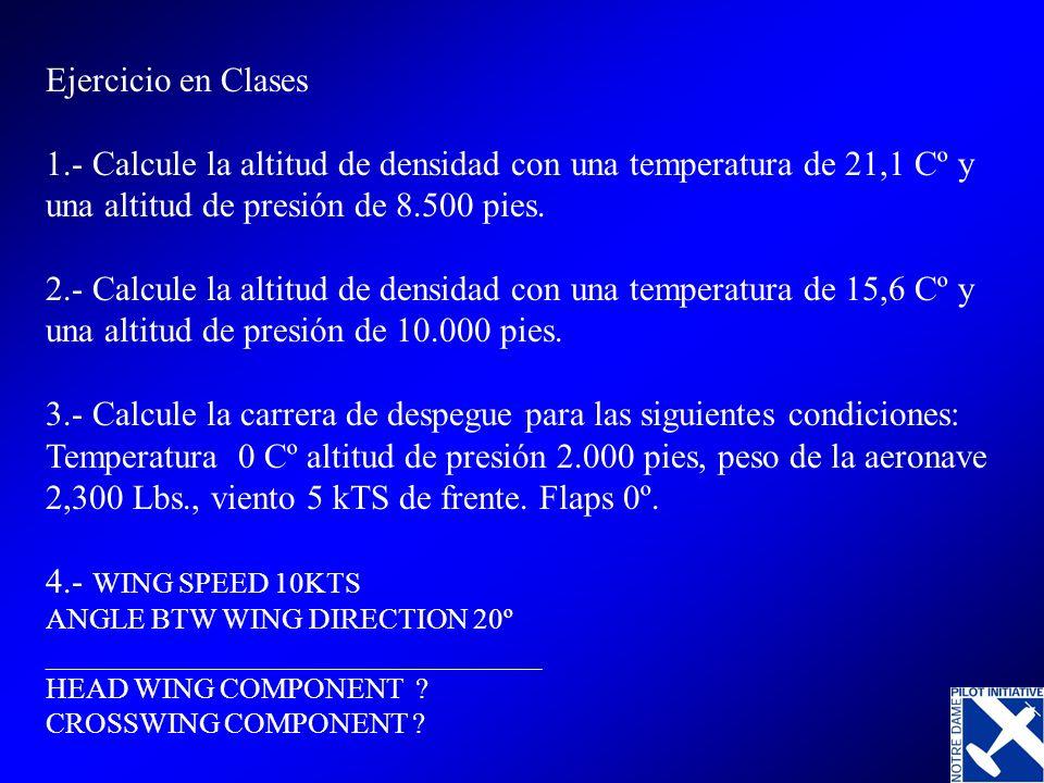 Ejercicio en Clases 1.- Calcule la altitud de densidad con una temperatura de 21,1 Cº y una altitud de presión de 8.500 pies. 2.- Calcule la altitud d