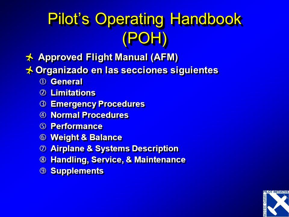 Pilots Operating Handbook (POH) Approved Flight Manual (AFM) Organizado en las secciones siguientes General Limitations Emergency Procedures Normal Pr