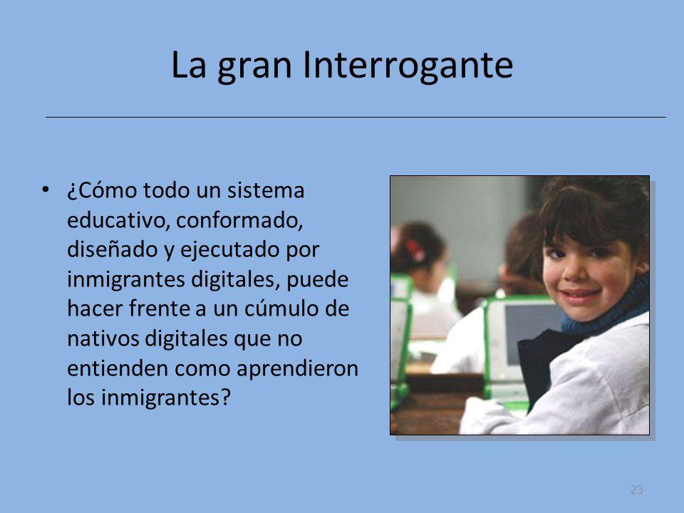 La gran Interrogante ¿Cómo todo un sistema educativo, conformado, diseñado y ejecutado por inmigrantes digitales, puede hacer frente a un cúmulo de na