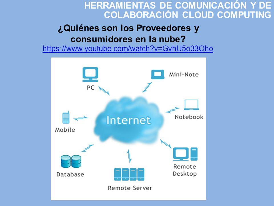 HERRAMIENTAS DE COMUNICACIÓN Y DE COLABORACIÓN CLOUD COMPUTING ¿Quiénes son los Proveedores y consumidores en la nube? https://www.youtube.com/watch?v